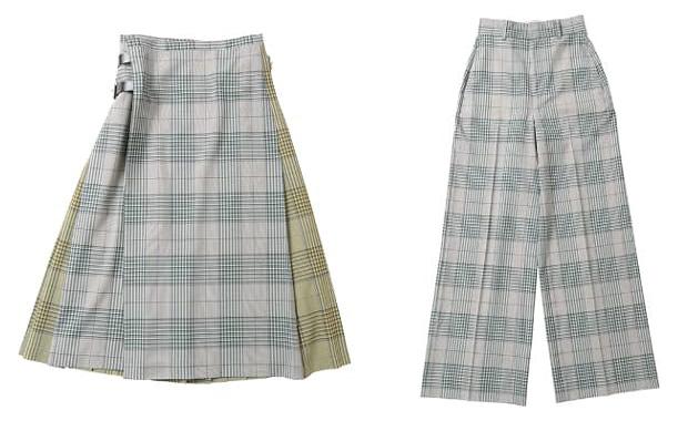 ビューティフルピープル「ウールタイプライターキルトスカート」「 ウールタイプライターハイウエストワイドパンツ」