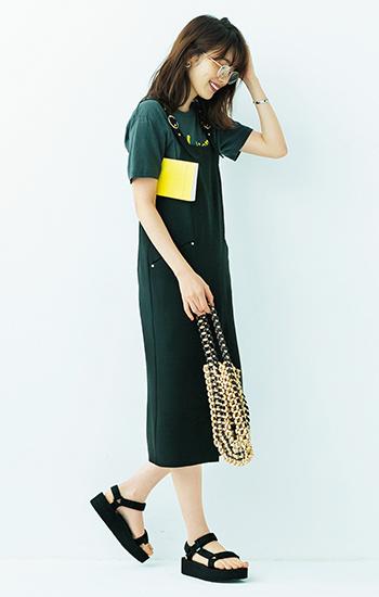 サンダル×ジャンパースカート