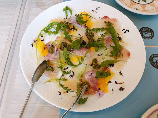 本日鮮魚のカルパッチョ〜ピスタチオのフレーバーで〜