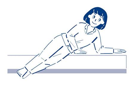 ベッドを手で押しながら体を起こす