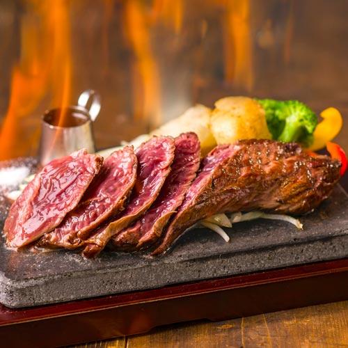 厚切り牛ハラミ溶岩焼きステーキ
