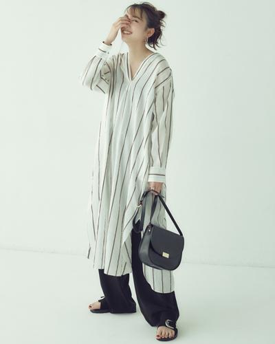 【2】白ストライプロングシャツワンピ×ワイドパンツ
