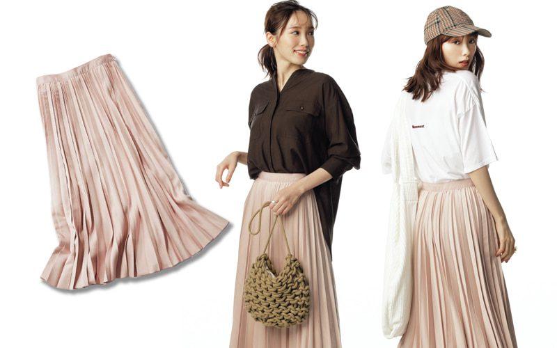 淡ピンクのフレアプリーツロングスカート