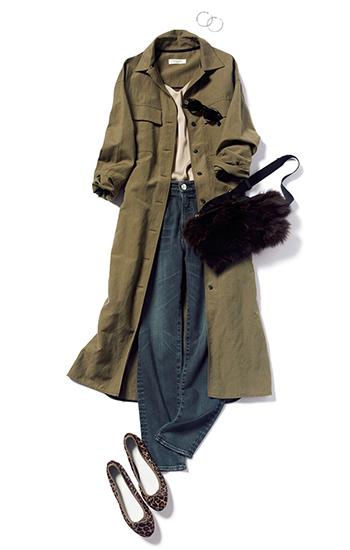 【2】カーキシャツジャケット×ジーンズ