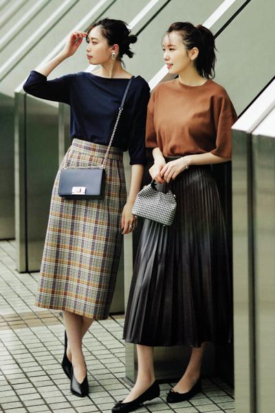 タックインスタイルは長めタイトスカートで旬なフォルムに