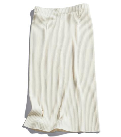 【1】白リブニットスカート
