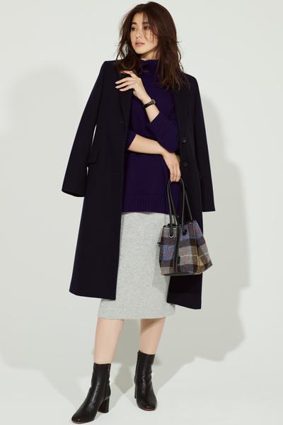 きれいめ大人女性のスタイルアップコーデ×黒チェスターコート