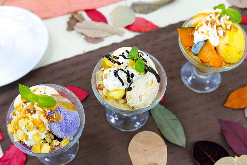 紫芋のミニパルフェ、栗のミニパルフェ、かぼちゃのミニパルフェ