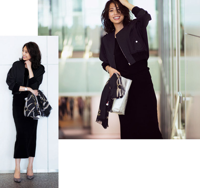 黒ニット×黒スカート