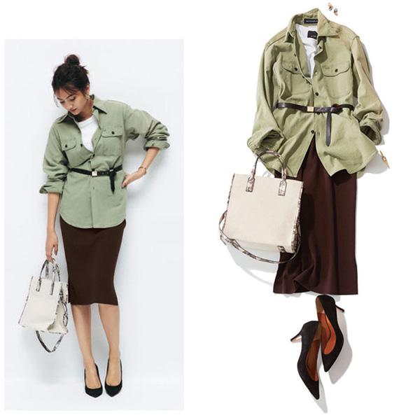 ミリタリーシャツ×ブラウンタイトスカート