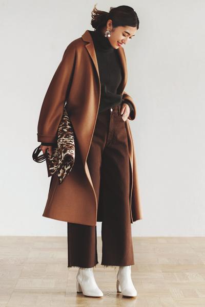 キャメル&ブラウンのコート着こなし ワントーンコーデ