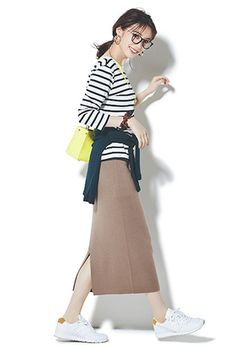 【1】ボーダーカットソー×ブラウンタイトスカート