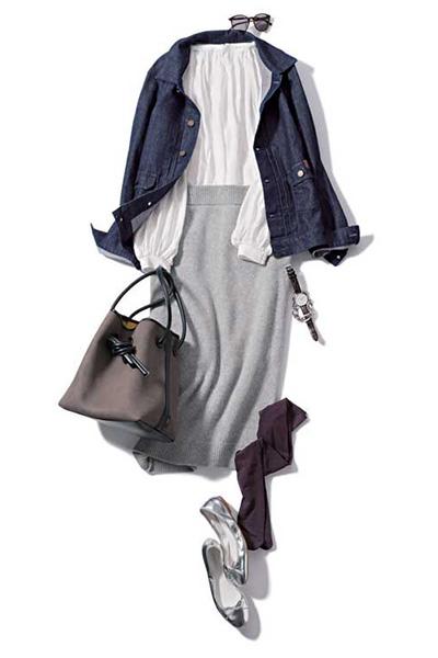 白ブラウス×ニットスカート×Gジャン