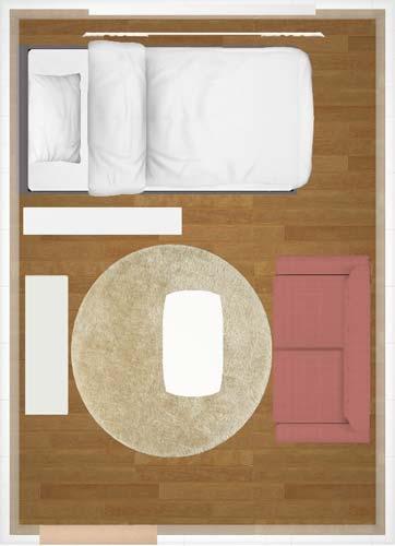 窓沿いにベッドを配置
