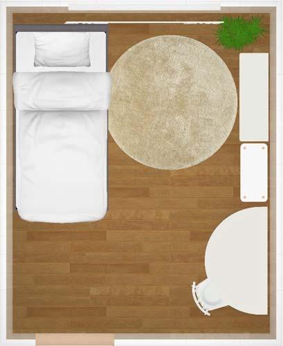 壁沿いにベッドを配置