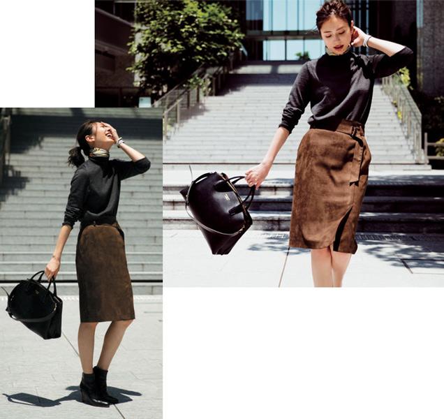 灰色ニット×タイトスカート