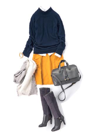 紺ニット×黄色スカート×白シャツレイヤード