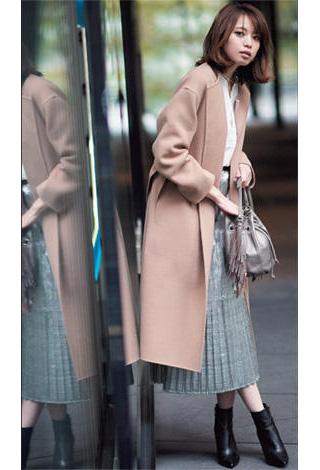グレープリーツスカート×チェスターコート