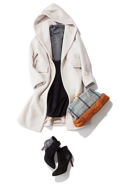 グレーセーター×白コート