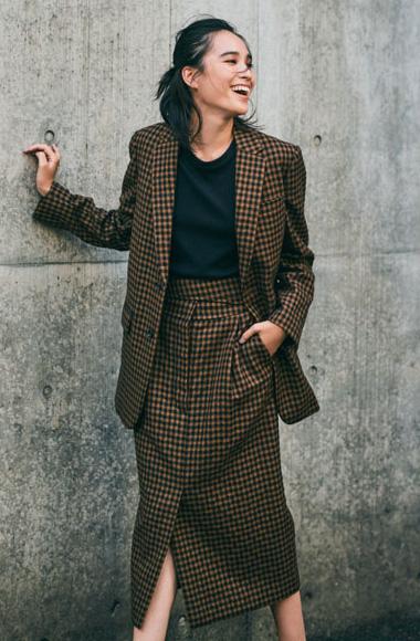 ロングタイトスカート×チェックジャケット