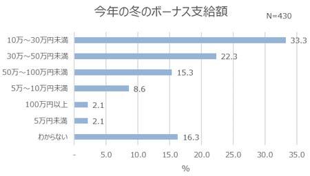 今年の冬のボーナスの支給額 結果グラフ