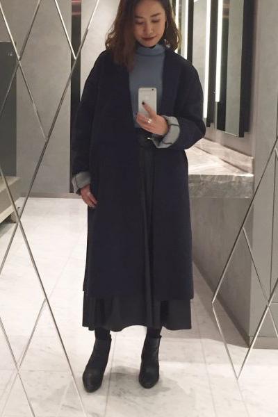 黒ショートブーツ×ダブルフェイスロングコート