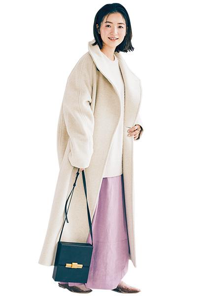 ラベンダーロングスカート×白ニット