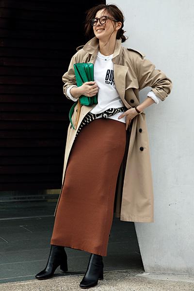 ベージュトレンチコート×ブラウンロングタイトスカート