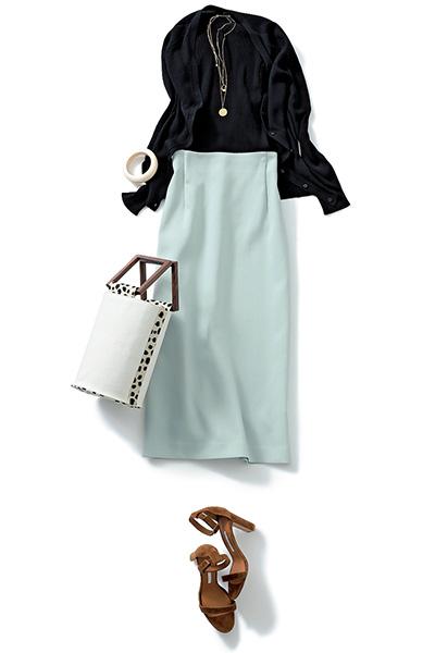 ブラックアンサンブルニット×シトラスグリーンスカート