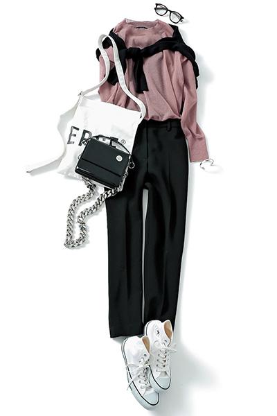 【5】ピンクシアーニット×黒パンツ