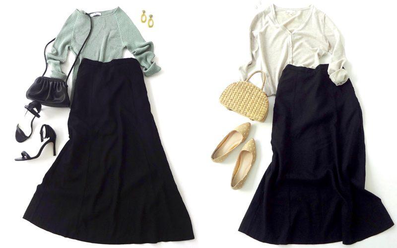 黒のリネンフレアロングスカート