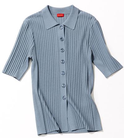 ポロシャツ風リブニット
