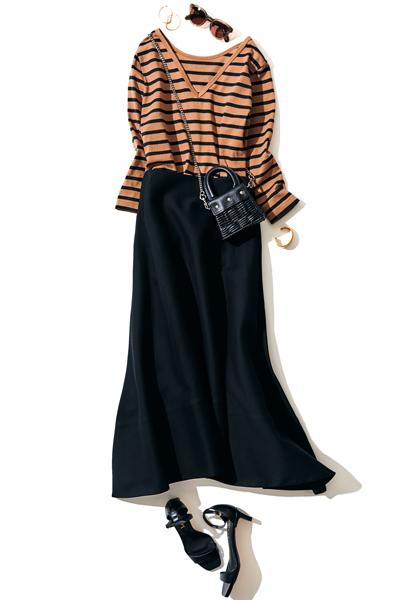 黒フレアスカート×ボーダーカットソー