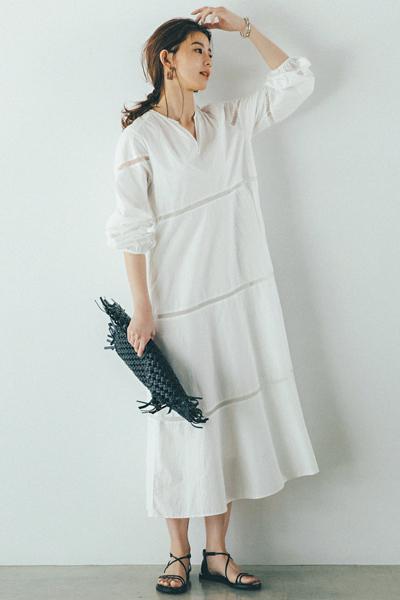 白スキッパーシャツワンピース