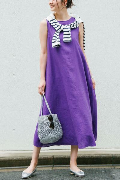 濃い紫ワンピース×ボーダーカットソー