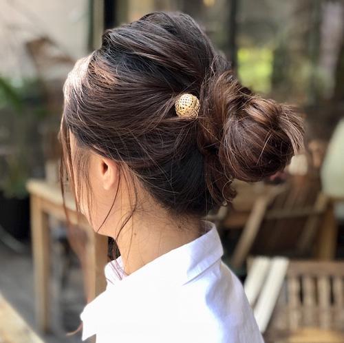 スクリューピン×まとめ髪