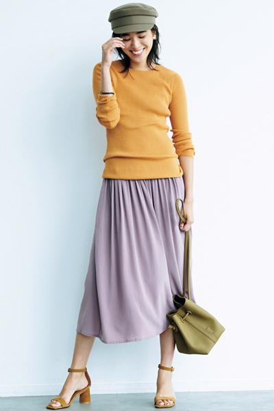 ヴィンテージピンクのフレアスカート