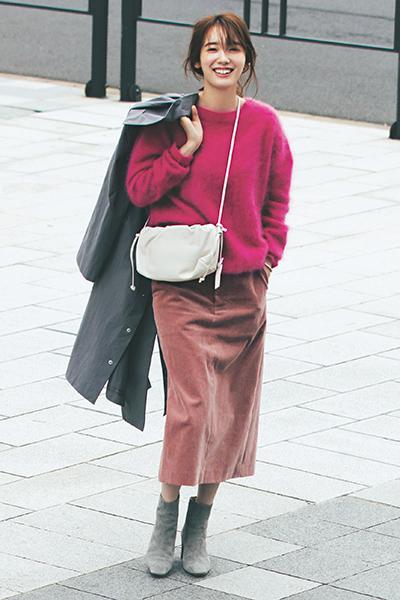 【11/16のコーデ】ピンクニットをかっこよく着こなすコツ♪