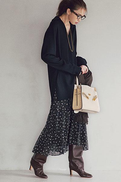 【12/16のコーデ】スカート×ロングブーツで最旬女っぽカジュアル