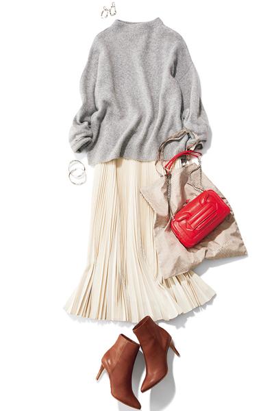 【1/19のコーデ】表情豊かなプリーツスカートで楽チンコーデ