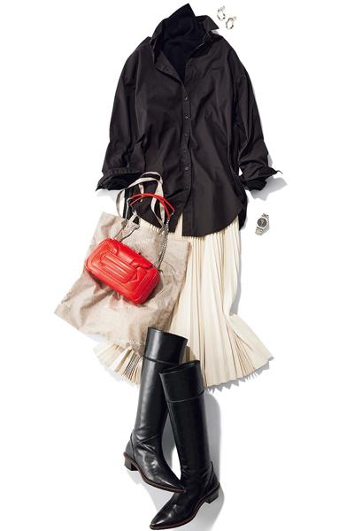 【1/15のコーデ】モノトーンの着こなしに小粋な赤バッグでアクセントを!