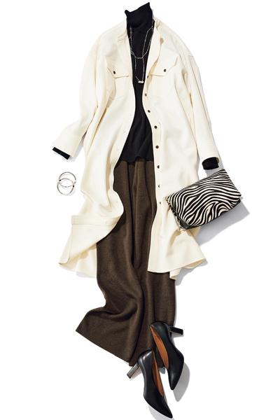 【1/6のコーデ】サクッとディナーの日。きれいめコーデにシャツワンピを羽織って颯爽と