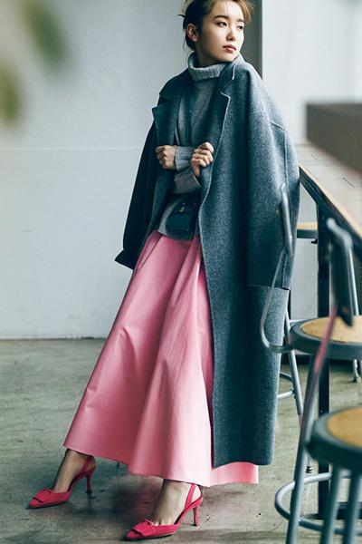 【2/6のコーデ】チアフルな土曜日♡ 足元を華やかにするピンクで彩って