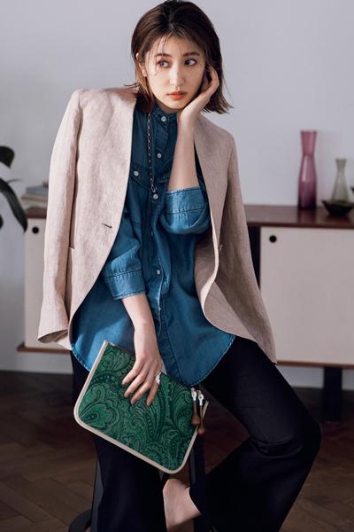 【4/14のコーデ】ダンガリーシャツにジャケットを重ねた新顔レイヤードスタイル