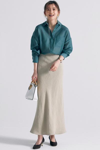 【5/4のコーデ】マーメイドスカートは、足元で女っぽさの引き算を