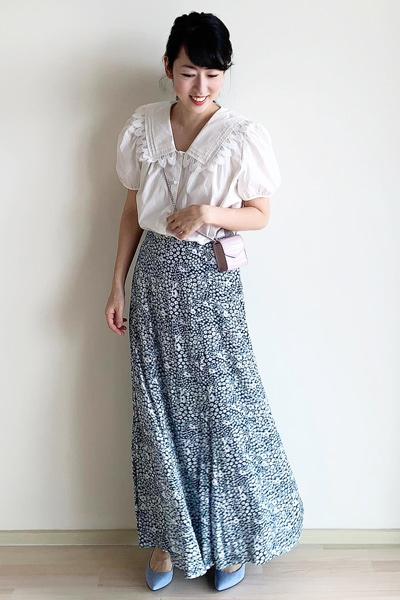 ZARAマキシカラーポプリンブラウス×ロング丈の柄スカート