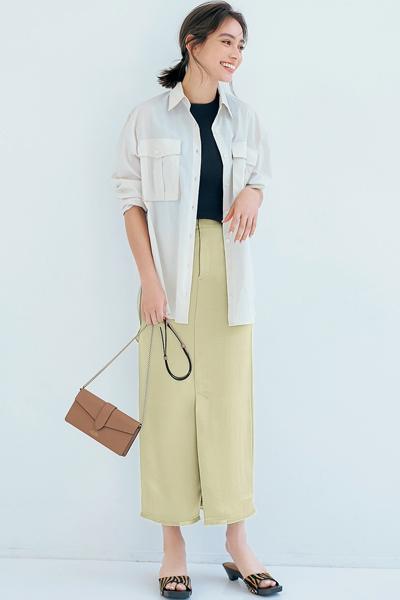 【6/3のコーデ】女らしさもカジュアルさも楽しめるピスタチオカラーの映えスカート