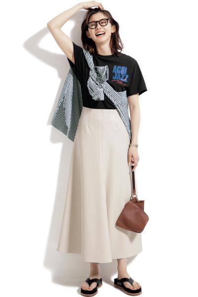 【6/16のコーデ】エコレザースカートならTシャツ合わせで即カッコよく♡