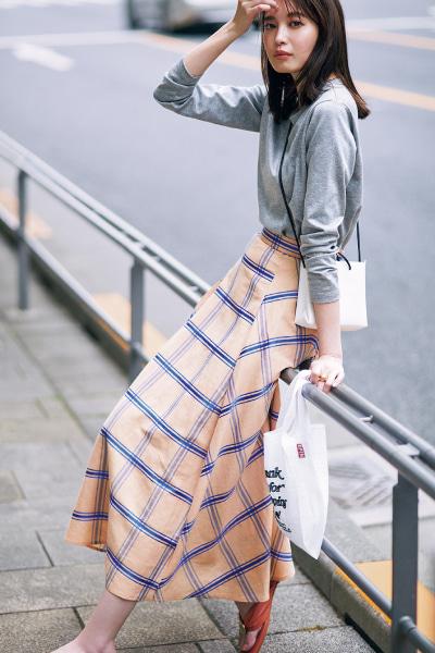 【6/18のコーデ】優しい色のチェックスカートでワンマイル散歩を楽しむ金曜日♡