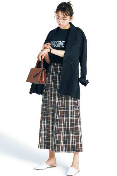 【6/23のコーデ】今っぽくトラッドを着こなしたいなら、要はチェック柄スカート♡